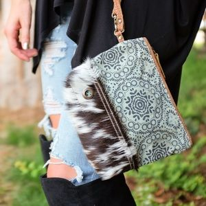 Handbags - Green floral print and hair on clutch